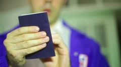 TSA passport airport examine ID Stock Footage