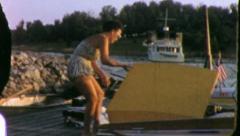BATHING SUIT Women Ocean Beach 1955 (Vintage Old Film Home Movie) 5631 Stock Footage
