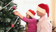 Family Christmas tree - stock footage