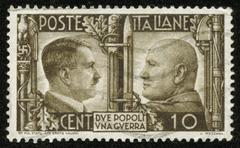 Stamp with hitler and mussolini Stock Photos