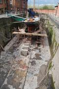 Boat reparation at dry docks Stock Photos