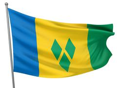 saint vincent and the grenadines national flag - stock illustration