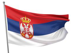 serbia national flag - stock illustration