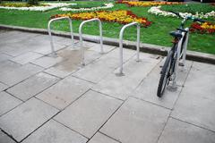 Stock Photo of bicycle on a parking rack