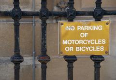 No parking of motorcycles or bicycles sign  Stock Photos