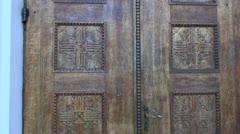 Original handmade carved oak door fragment Stock Footage