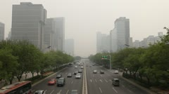 Air Pollution and Huge Traffic in Beijing, China due to Mongolian dust storm - stock footage