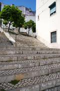 sao miguel stairs in alfama - stock photo