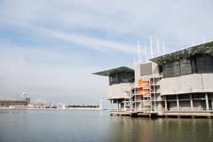 Oceanarium building in lisbon Stock Photos