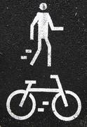 pedestrian and bicycle road signs - stock photo