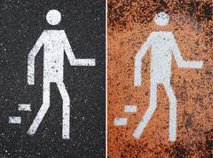 pedestrian road signs - stock photo
