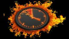Burning clock Stock Footage