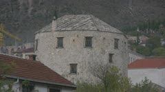 Stock Video Footage of Old cylindrical building in Mostar