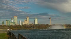 A Rainbow and the City of Niagara Falls Stock Footage