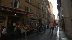 Rome street life very narrow street, people Stock Footage