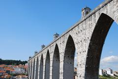 aqueduct of free waters in lisbon - stock photo
