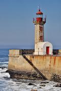 lighthouse of porto (portugal) - stock photo