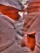 abstract curves of antelope canyon - stock photo