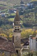 Medieval church tower in Motovun Stock Photos
