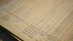 German old handwritten document-table with numbers 1 Stock Footage