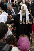 Patriarch Kirill blessing the faithful - stock photo