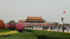 Center of Beijing, China, Gate to Forbidden City, Tiananmen Square, Crowds Stock Footage