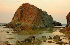 Water rock sunset 2 - stock photo