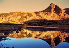 Sunset Hills Lake Reflection 2 - stock photo