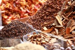 Traditional spices and dry fruits in local bazaar in india. Stock Photos