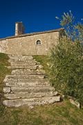 St.Michael`s church and old stairs - stock photo