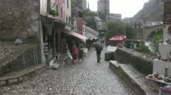 Mostar Old Town Street - stock footage