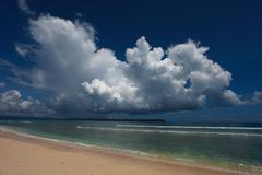 havelock island beach blue sky with white clouds, andaman islands - india - stock photo