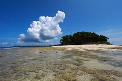 low tide and blue sky and white clouds on the coral beach. andaman islands. - stock photo