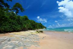 neil island beach and blue sky with white clouds, andaman islands - india - stock photo