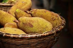 Stock Photo of large jack fruit with large spikes at market in india