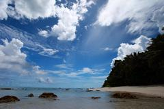 Havelock island beach blue sky with white clouds, andaman islands - india Stock Photos