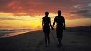 Stock Video Footage of Couple walking on beach