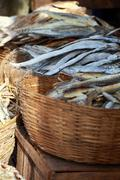 Stock Photo of dried fish, seafood product at market from india