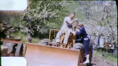 Pretty Girl Gets Tractor Ride Earth Mover 1950s Vintage Film 8mm Home Movie 5646 Stock Footage