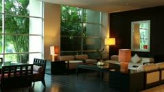 Luxury modern Hotel Lobby Mexico pan HD 3920 - stock footage