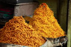 Noodles in traditional market in india. Stock Photos