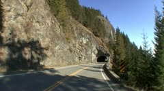 P02346 Driving Through Tunnel at Olympic National Park Stock Footage