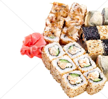 Stock photo of sushi roll set
