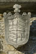 Medieval stony coat of arms - stock photo