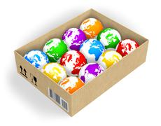 Box with color globes Stock Illustration