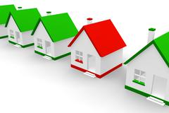 Red house within green ones - stock illustration