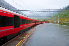 Railway station in Norway - stock photo