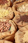 traditional spices and dry fruits in local bazaar in india. - stock photo