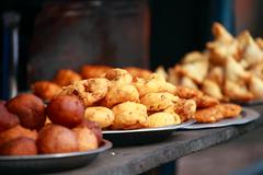 traditional india food on the street. - stock photo