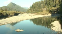 P02370 Scenic River and Gravel Bars at Olympic National Park Stock Footage